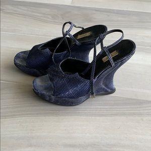 Prada blue black white wedges